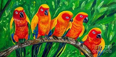 Girl Watchers  - Sun Conures Original by Julie Brugh Riffey