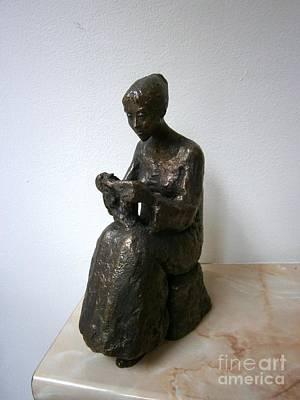 Bronze Sculpture - Girl Who Knits by Nikola Litchkov
