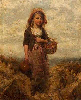 Cider Painting - Girl With A Basket Of Apples by Edward John Cobbett