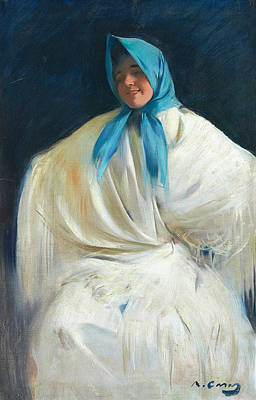 Painting - Girl With A Blue Scarf by Ramon Casas