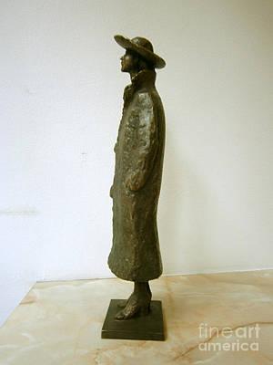 Nikola Litchkov Sculpture - Girl With A Coat And Hat by Nikola Litchkov