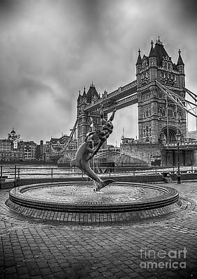 Tower Of David Photograph - Girl With A Dolphin At Tower Bridge 2 by Chris Thaxter