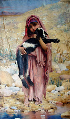 Beautiful Creek Painting - Girl With A Goat by Mountain Dreams