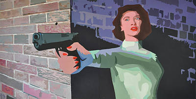Painting - Girl With A Gun by Geoff Greene
