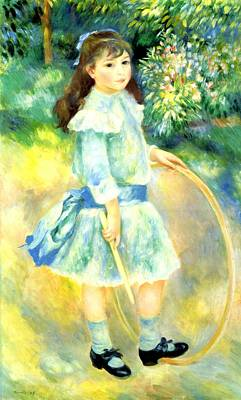Digital Art - Girl With A Hoop by Pierre-Auguste Renoir