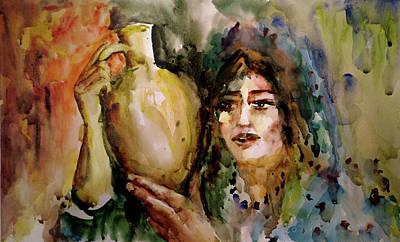 Girl With A Jug. Art Print by Faruk Koksal