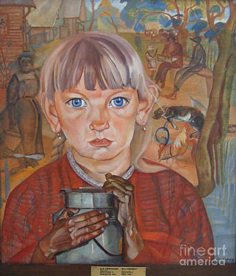 Milk Can Painting - Girl With A Milk Can by Celestial Images