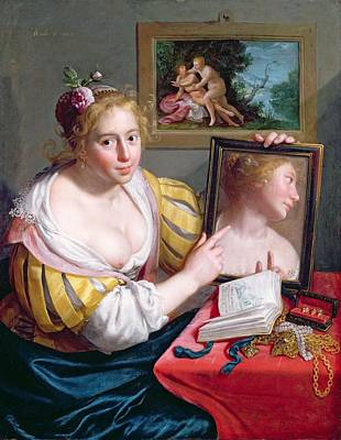 Girl With A Mirror, An Allegory Art Print by Paulus Moreelse