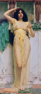 Erotica Painting - Girl With A Mirror by John William Godward