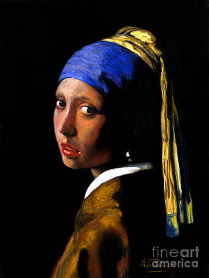Girl With A Pearl Earring Painting - 'girl With A Pearl Earring' After Johannes Vermeer. by John  Palmer