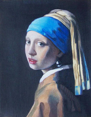 Mannerisms Drawing - Girl With A Pearl Earring After Vermeer by Liam Harper