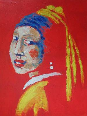 Semi-abstract Painting - Girl With A Pearl Earring - Red Portrait by Carmen Tyrrell