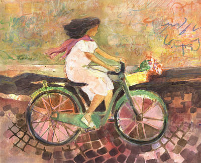 Bicycle Painting - Girl With A Pink Scarf by Jen Norton