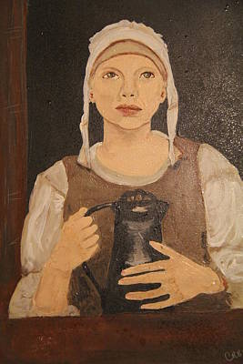 Monochromatic Study Painting - Girl With A Pitcher by Cris Yost