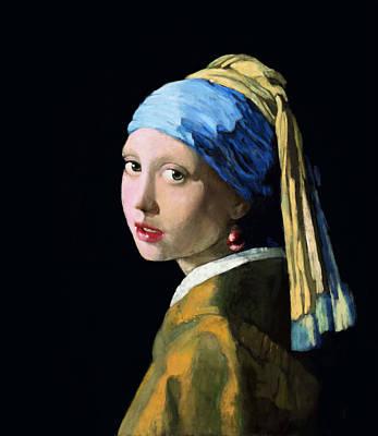 Painter Digital Art - Girl With A Ruby Earring by Arie Van der Wijst