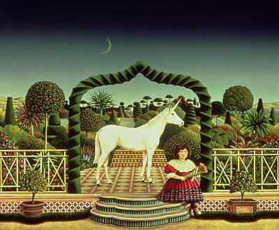 Moonlit Painting - Girl With A Unicorn by Anthony Southcombe