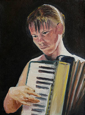 Girl With Accordion Art Print