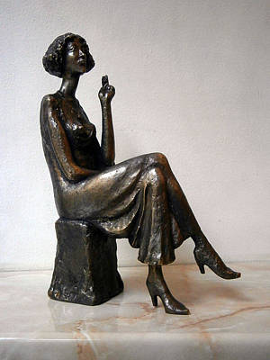 Statue Sculpture - Girl With Bare Breasts by Nikola Litchkov