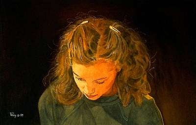 Barrette Painting - Girl With Barrettes  by Robert Tracy