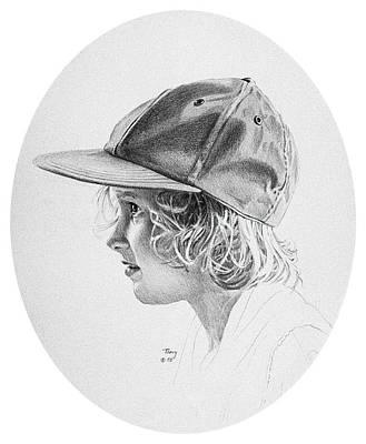 Girl With Baseball Cap Art Print by Robert Tracy