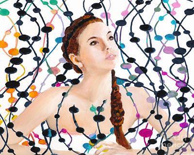 Art Print featuring the painting Girl With Beads by Denise Deiloh