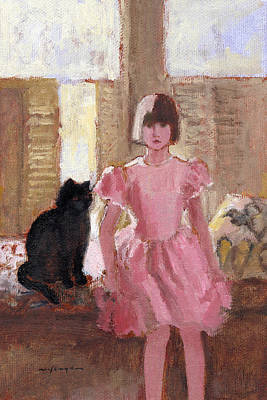 Painting - Girl With Black Cat by J Reifsnyder