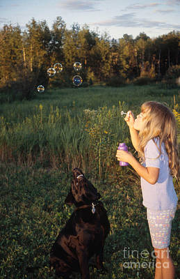 Id Tag Photograph - Girl With Black Labrador by Linda Freshwaters Arndt