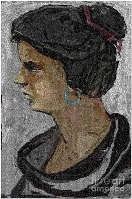 Girl With Blue Earrings Art Print by Pemaro