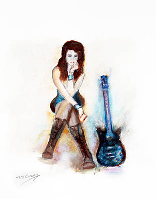 Painting - Girl With Blue Guitar by Tom Conway
