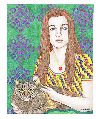 Heart Necklace Painting - Girl With Cat by Jack Puglisi