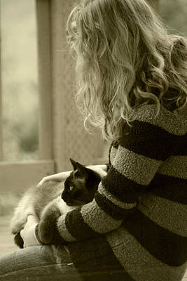 Photograph - Girl With Cat by Katie Wing Vigil