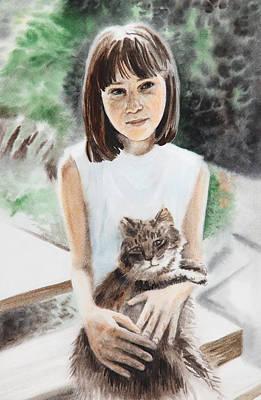 Painting - Girl With Cat by Masha Batkova