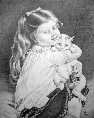 Drawing - Girl With Cat. by Zdzislaw Dudek