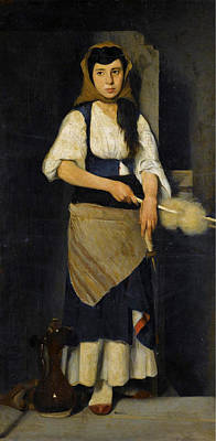 Spindles Painting - Girl With Distaff And Spindle by Polychronis Lempesis