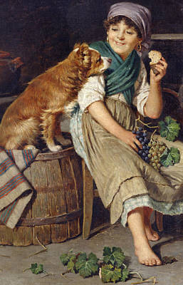 Sniffing Painting - Girl With Dog by Federico Mazzotta