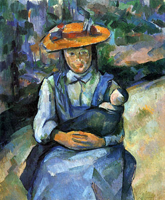 Girl With Doll By Cezanne Art Print