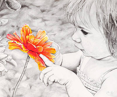 Colored Pencil Portrait Drawing - Girl With Flower by Aaron Spong