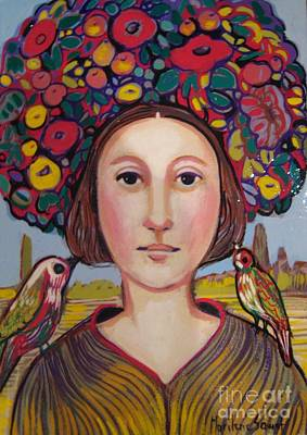 Girl With Flower Hat Original by Marilene Sawaf