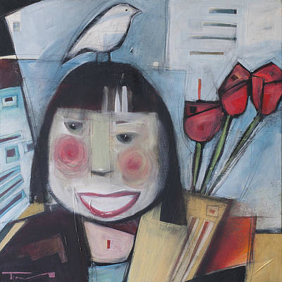 Painting - Girl With Flowers And Bird by Tim Nyberg