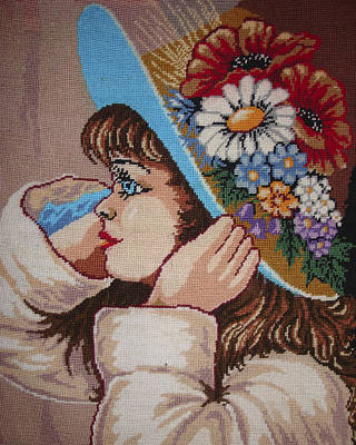 Girl With Flowers Print by Eugen Mihalascu