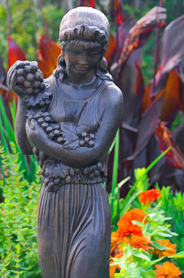 Photograph - Garden Statute Of Girl With Grapes by Ginger Wakem