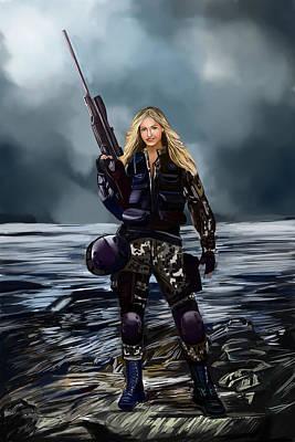 Digital Art - Girl With Gun by Bogdan Floridana Oana