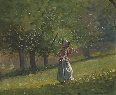 Key West Painting - Girl With Hay Rake by Celestial Images
