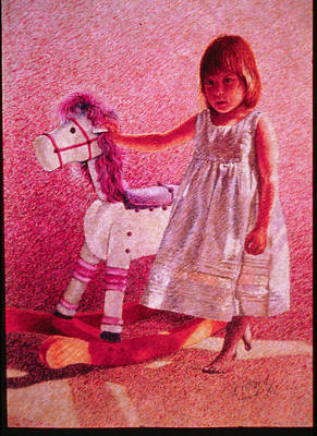 Girl With Hobby Horse Art Print