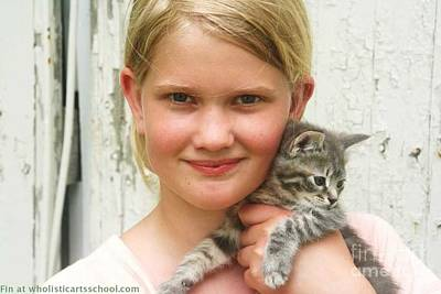 Girl With Kitten Art Print