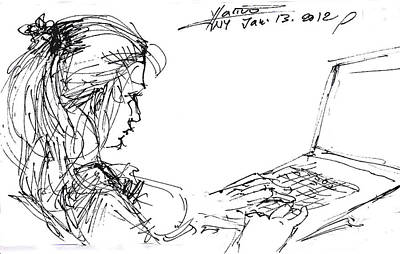 Sketch Drawing - Girl With Laptop  by Ylli Haruni