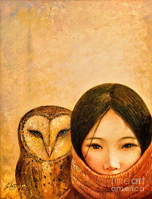 Owls Painting - Girl With Owl by Shijun Munns