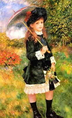 Landscape Digital Art - Girl With Parasol by Pierre-Auguste Renoir