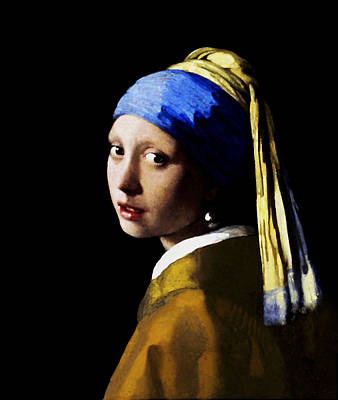 Digital Art - Girl With Pearl Ear Ring by Johannes Vermeer