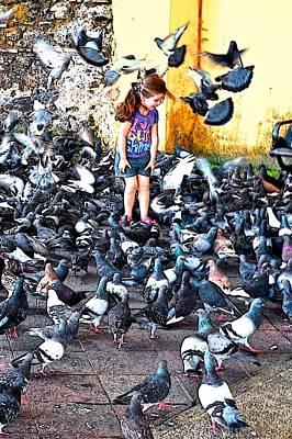Photograph - Girl With Pigeons by Ricardo J Ruiz de Porras